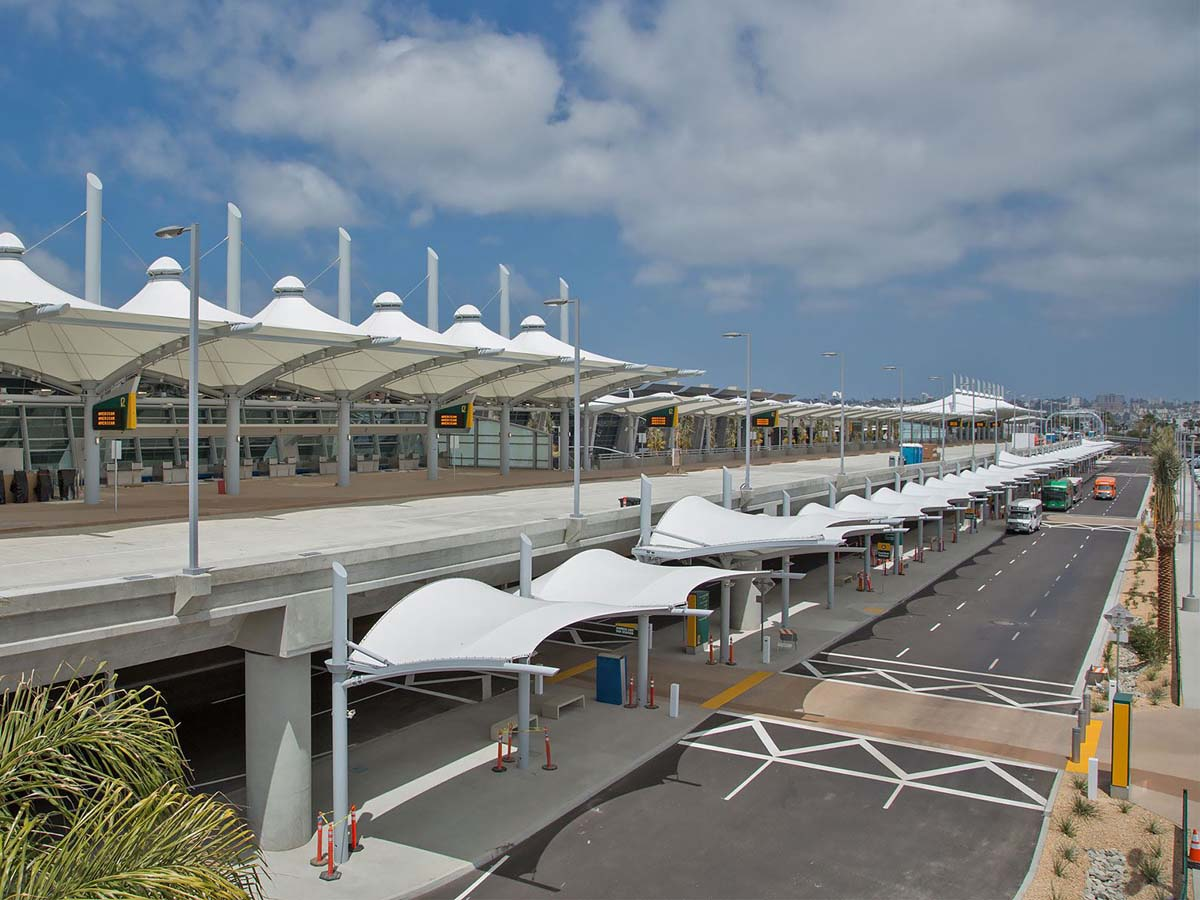 Airport Terminal Curbside Canopies - Airport Stop Station Tensile Structures