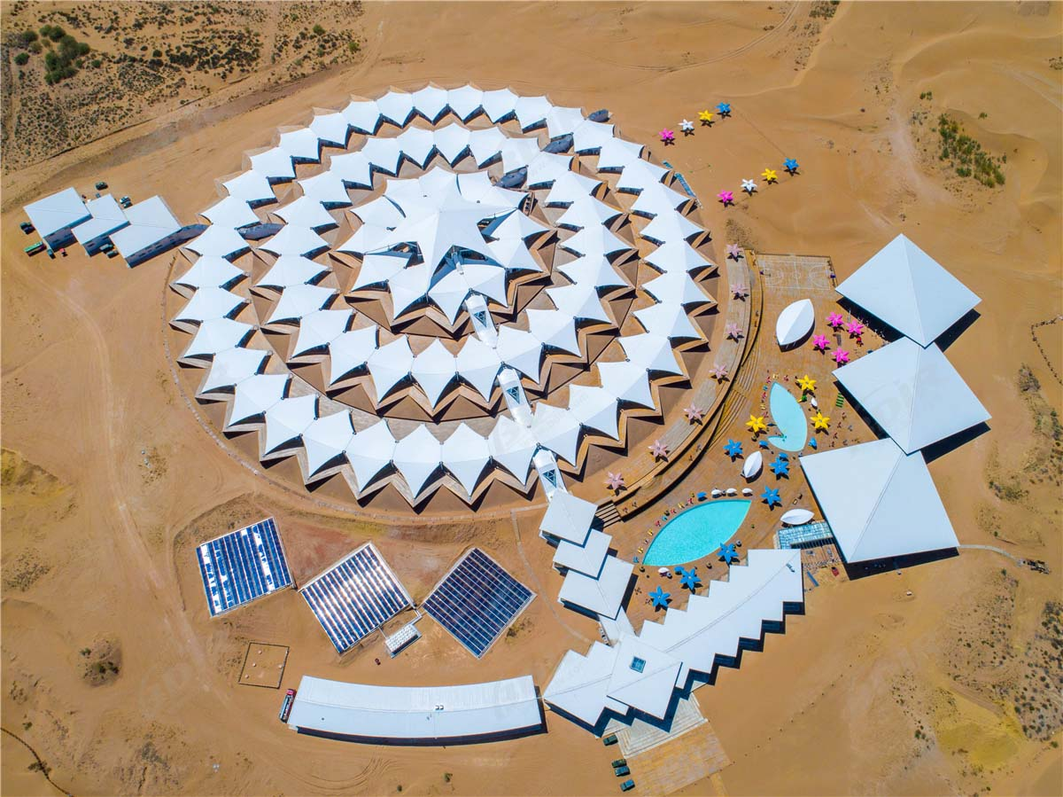 Eco Friendly Fabric Membrane Tent Structures Lodges in Desert Camping Resort