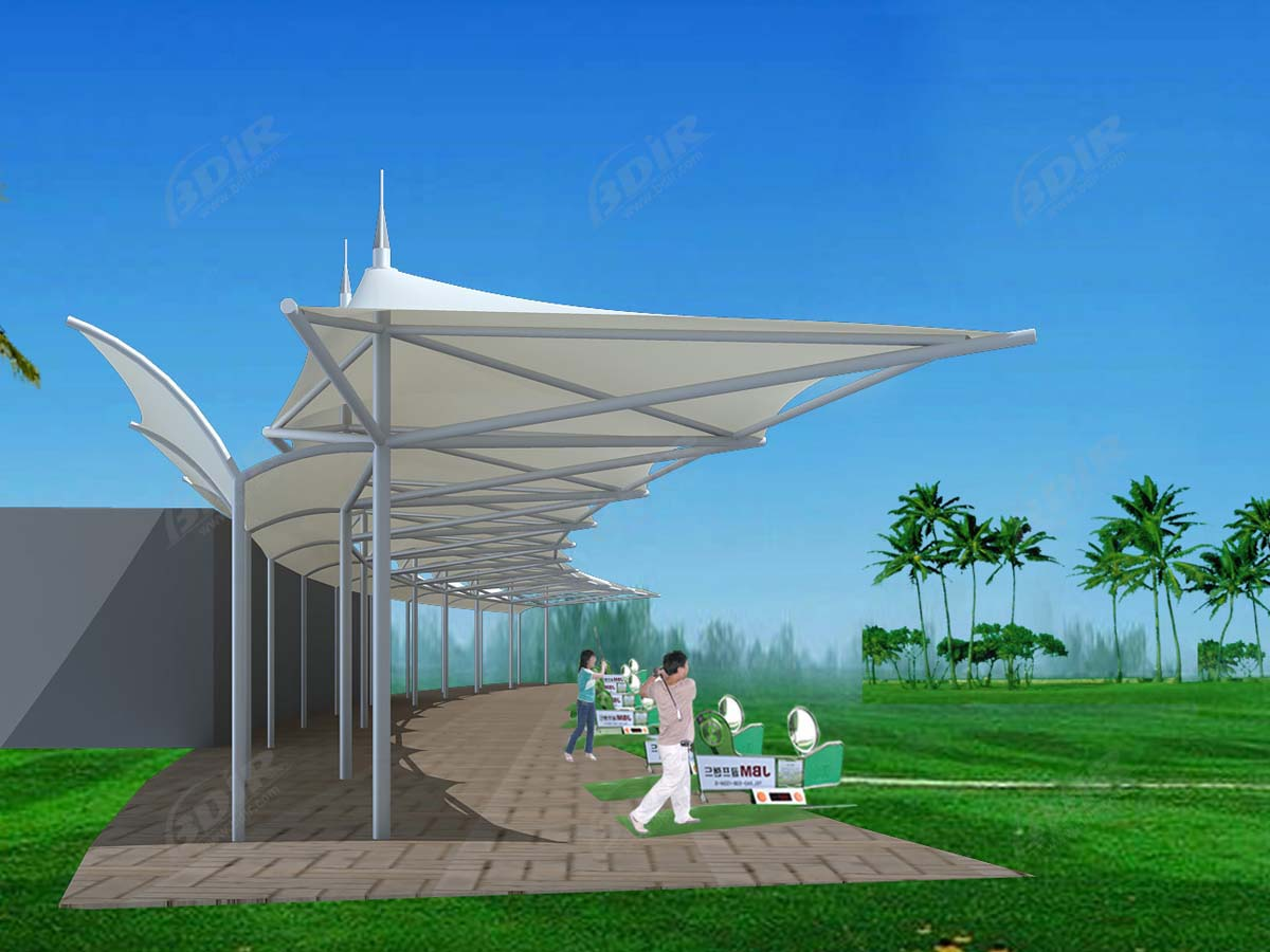 Golf Driving Range Roof - Tensile Fabric Shade, Canopy for Golf Course