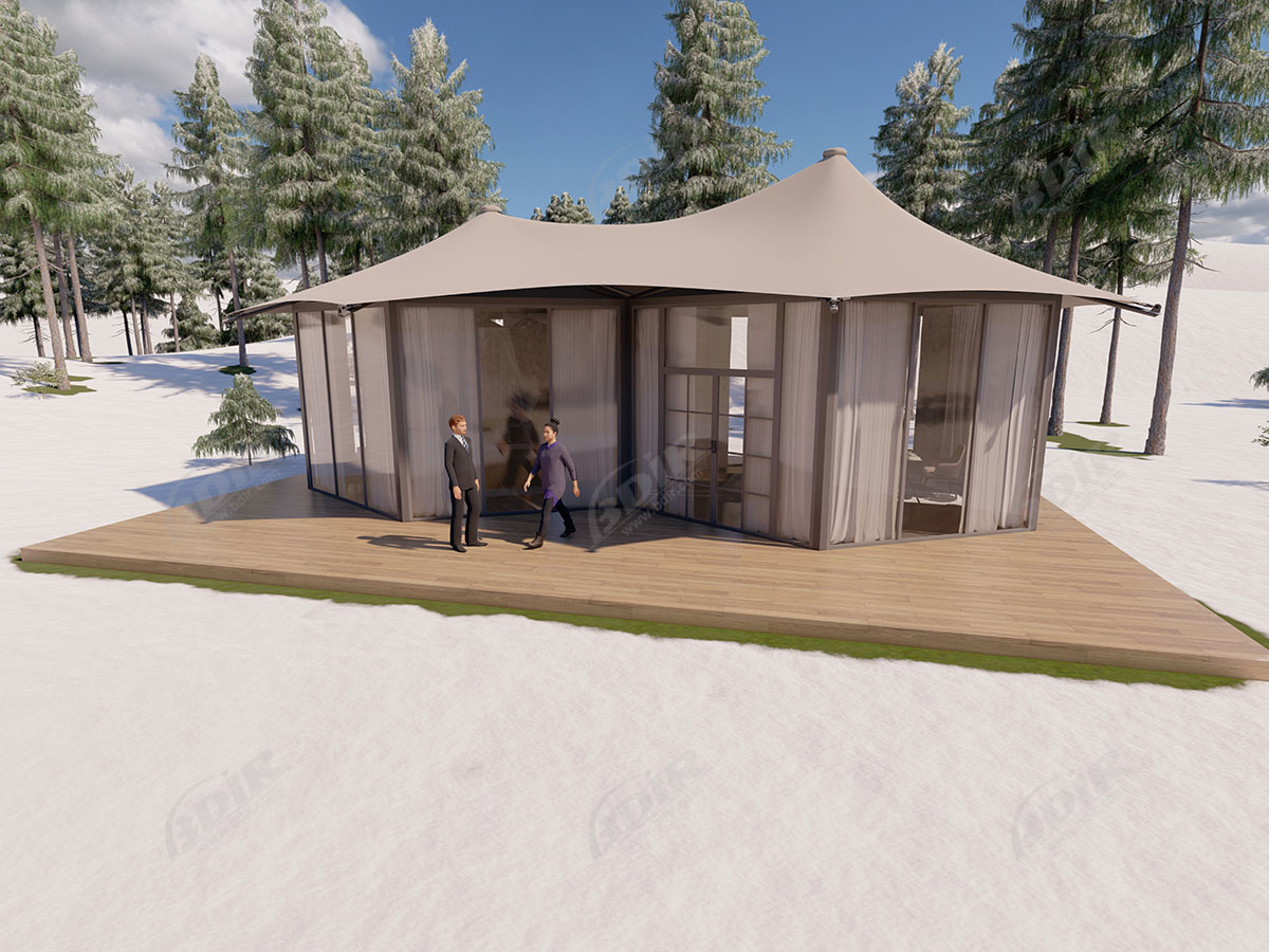 Modern & Luxurious Big Family Canvas Yurt Tent & Glamping Huts