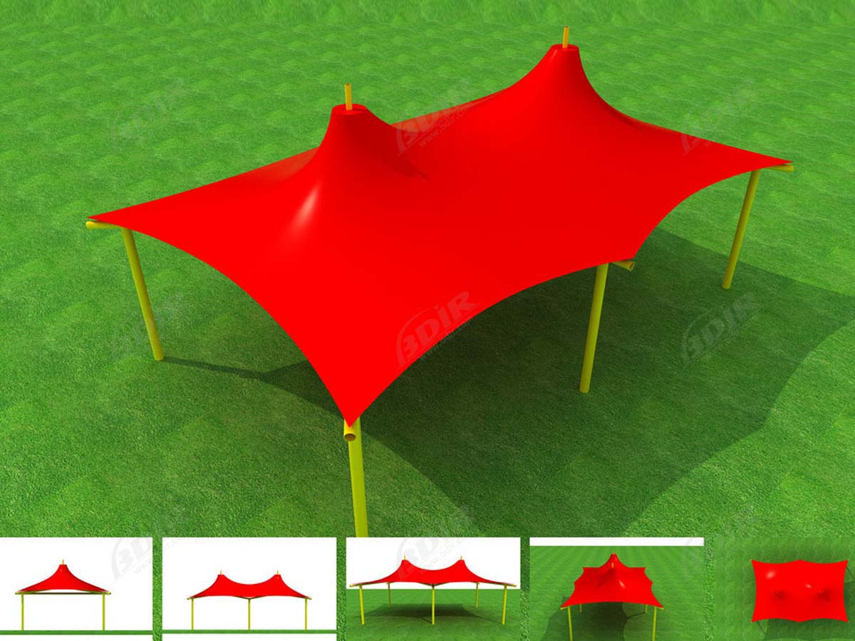 Multicolored Tensile Membrane Structure - Colorful Fabric Canopy Constructions