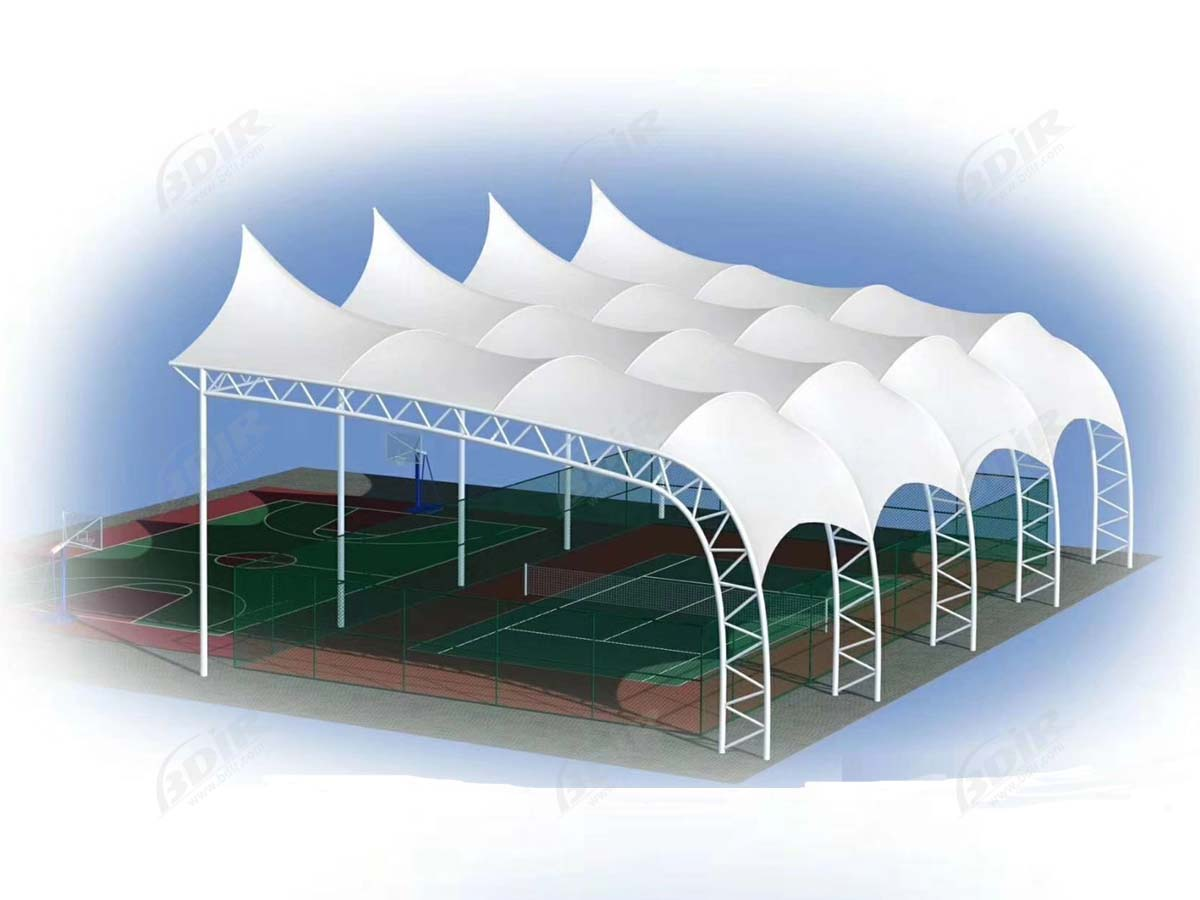 Basketball Court Tensile Structure Canopy - Outdoor Basketball Courts Shade