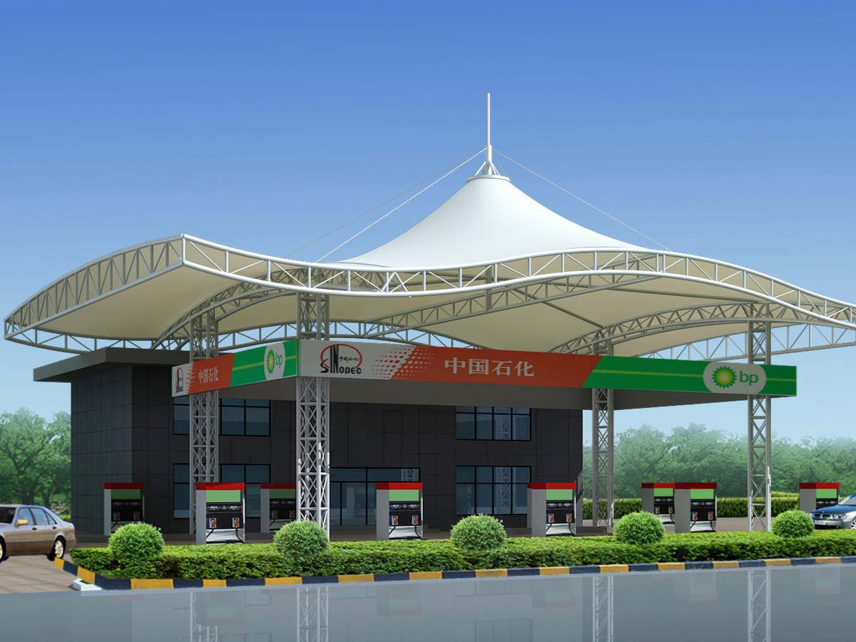 Petrol Pump Canopy - Oil and Gas Fuel Station Tensile Roof Structure