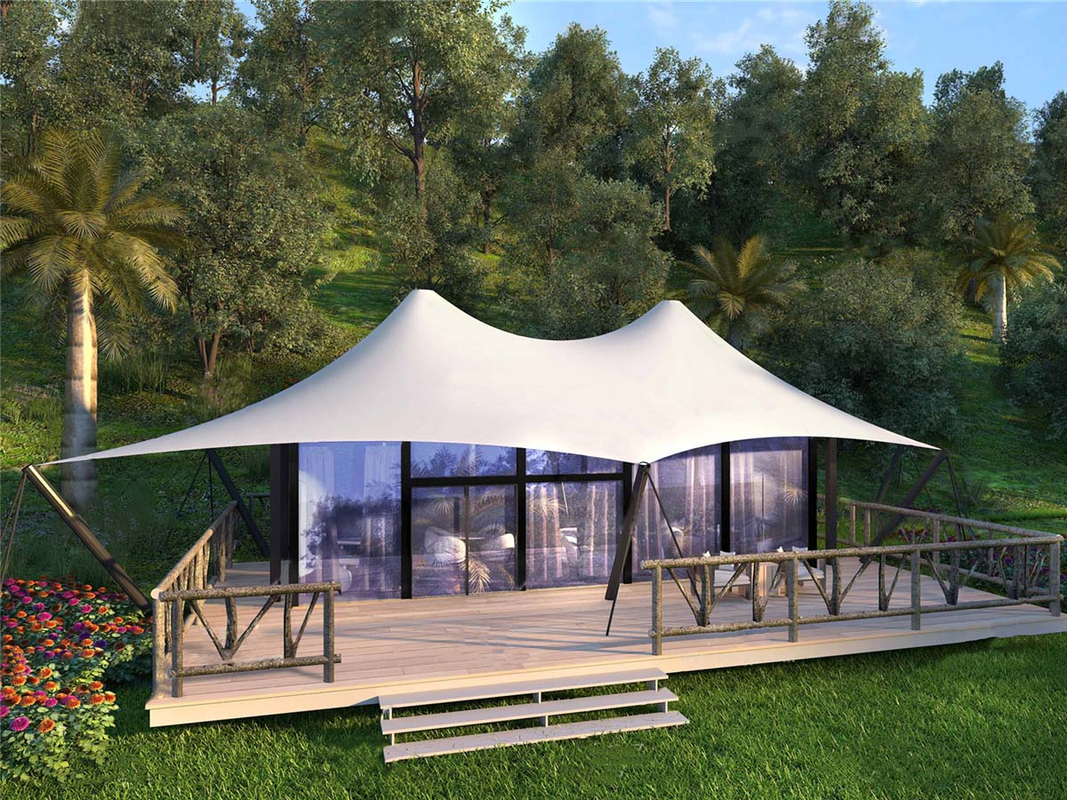 Island Tented Resort with 36 Fabric Structures Tent Pool Villas