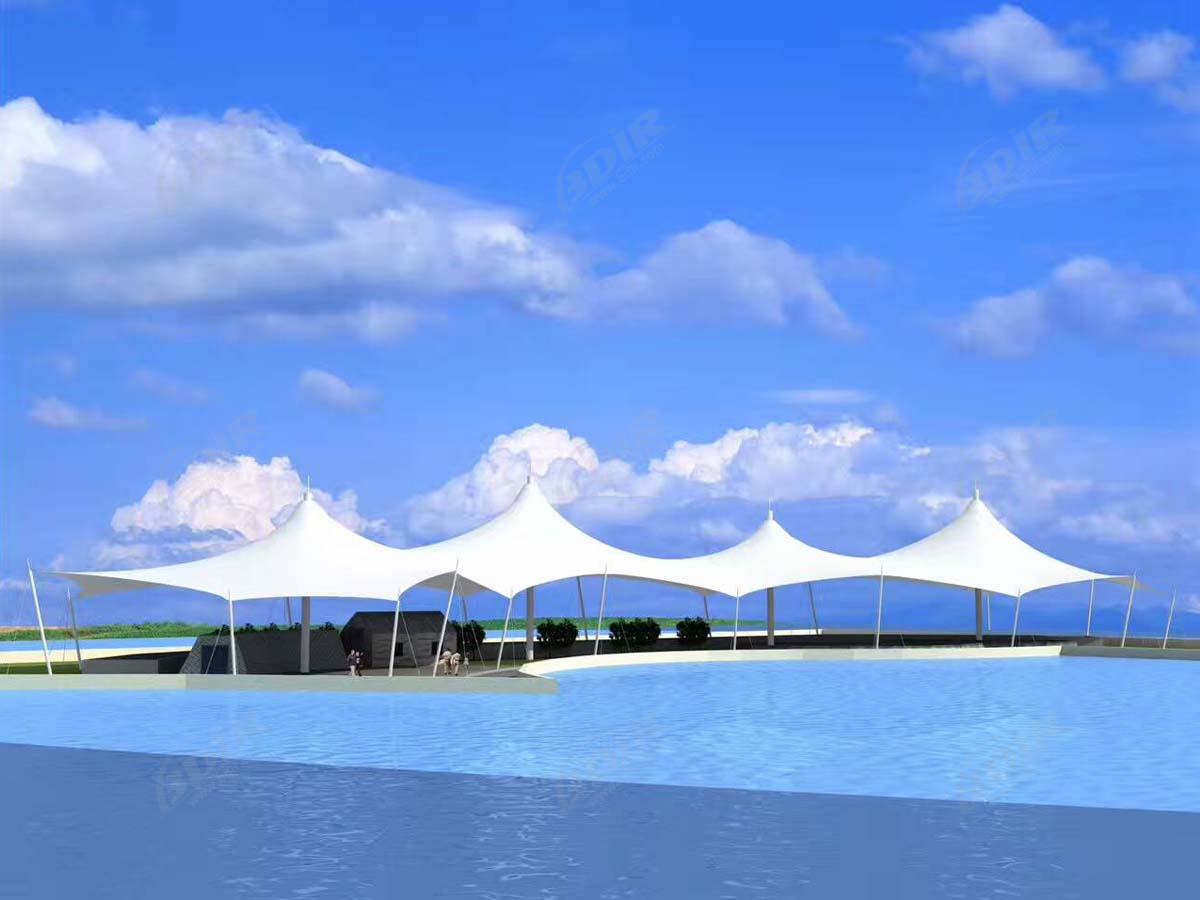 Tensile Fabric Structure for Swimming Pool - Pool Bar Shade Canopy