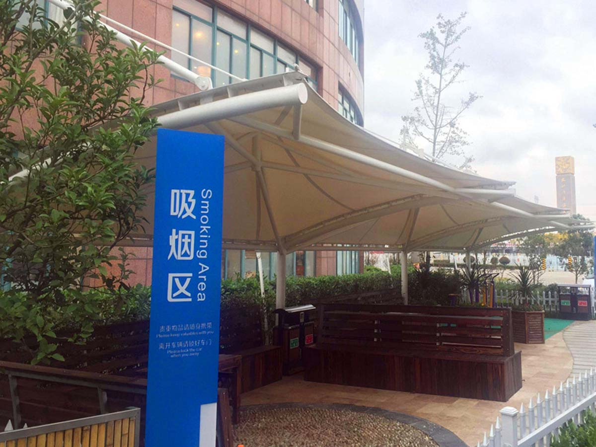 Tensile Fabric Roof Structure for Outdoor Smoking Area