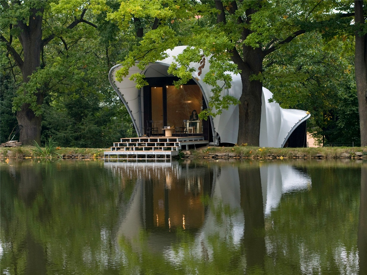 Tensile PVDF Tent Gazebo as Garden House at the Pond Masilko