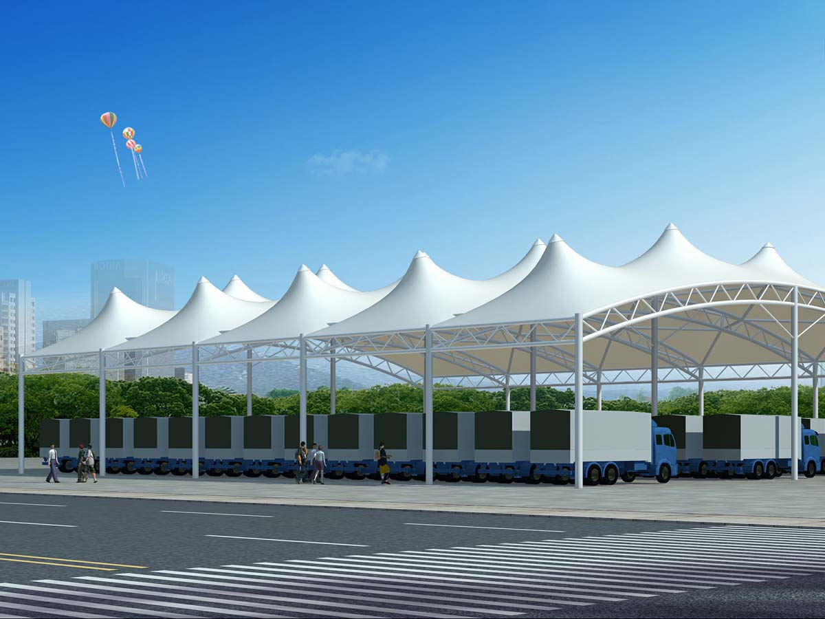 Tensile Structure for Logistics Center | Tent Fabric Covered Roof Canopy