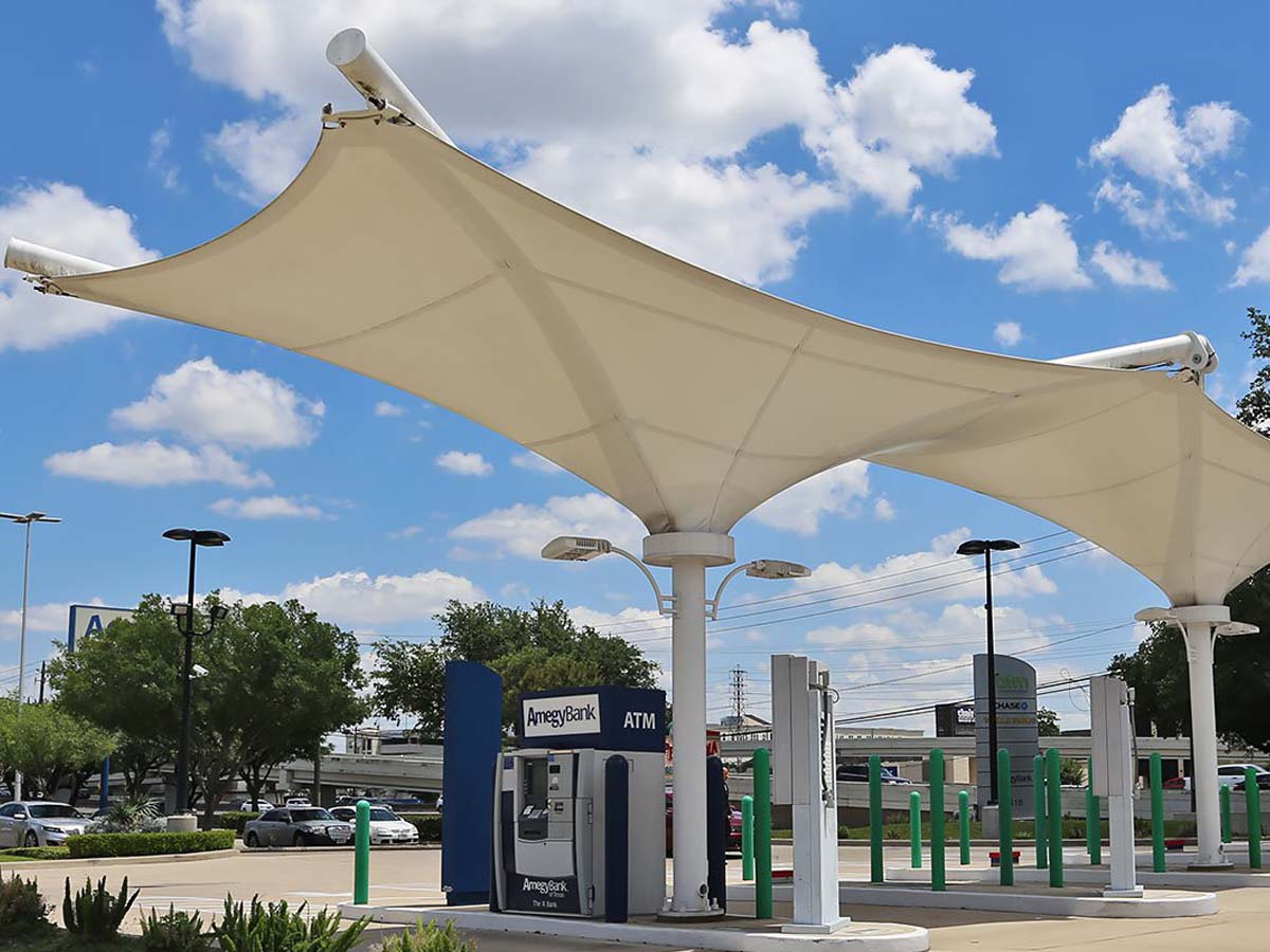 Customize Tensile Structures for ATM Bank - PVDF / PTFE Fabric Canopies Roofs