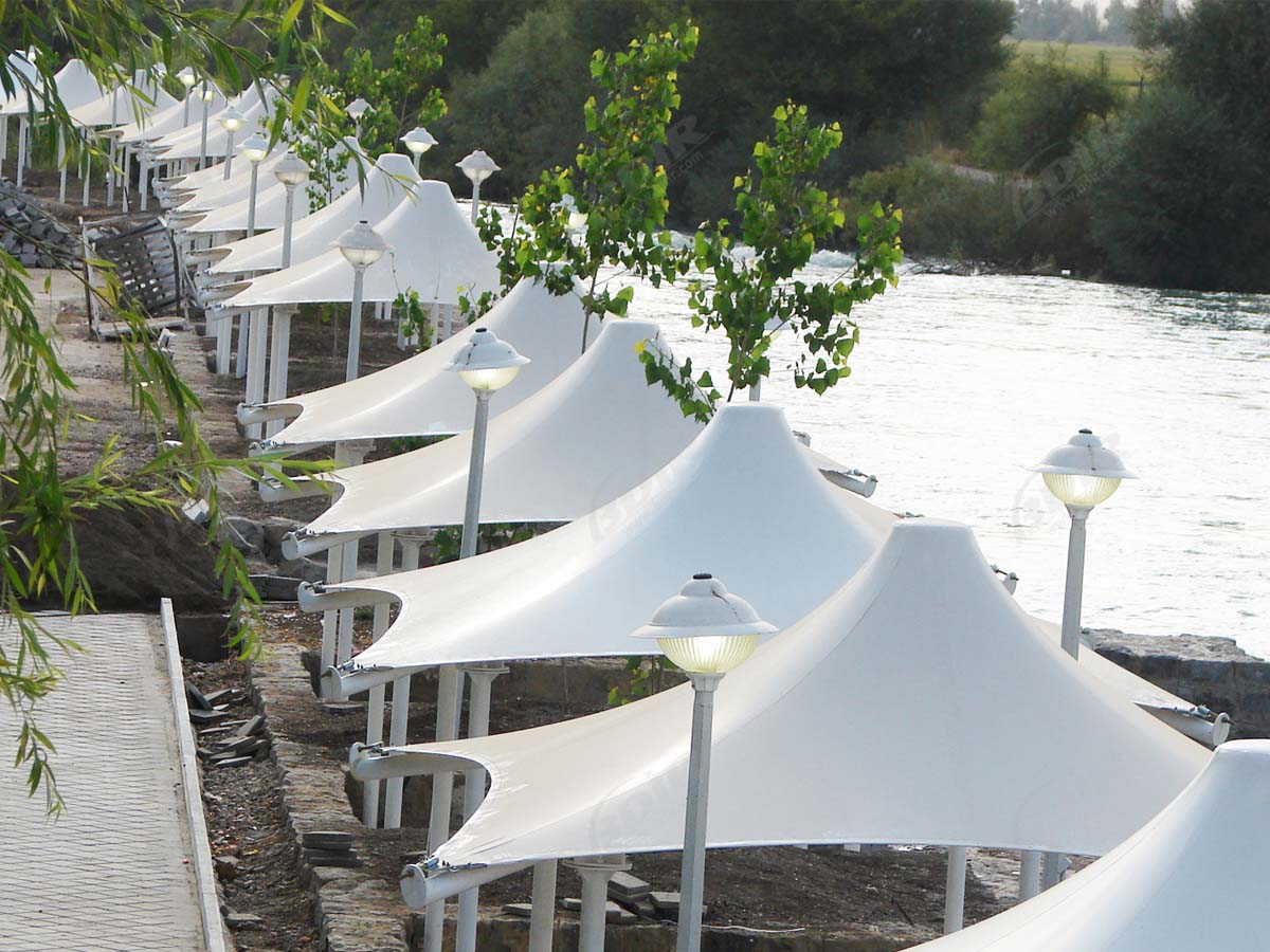 Tensile Structures for Fabric Covered Walkways - Corridor Roof - Pathway Shade