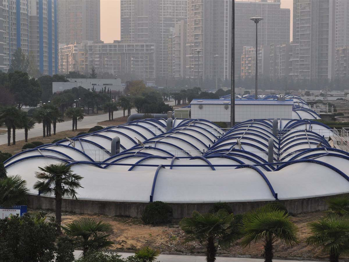 Tensile Structures for Sewage Water Treatment Plants, Green Roofs, Covers, Canopies