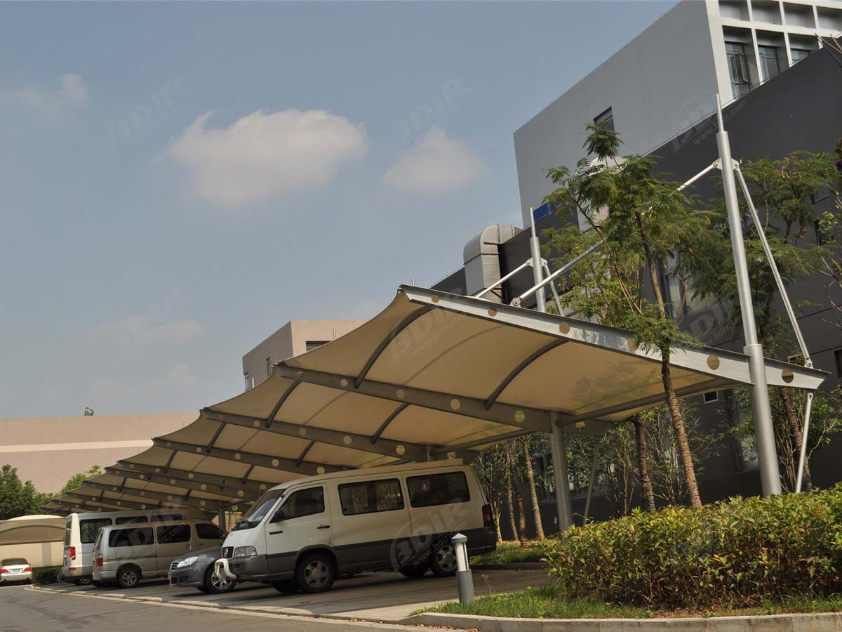 Fabric Cantilever Car Parking Shade Structures - Single Bay - Tension Design