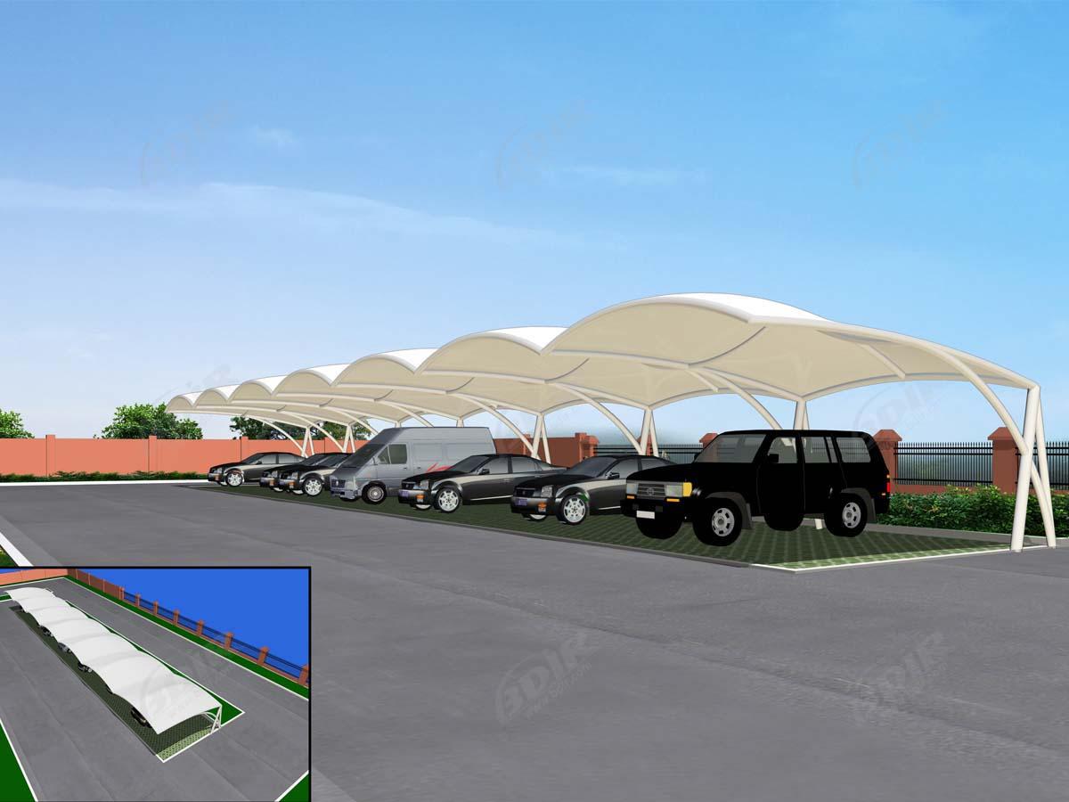 Gudang Parkir Tipe Gelombang Struktur Naungan Parkir Desain Gelombang Mobil
