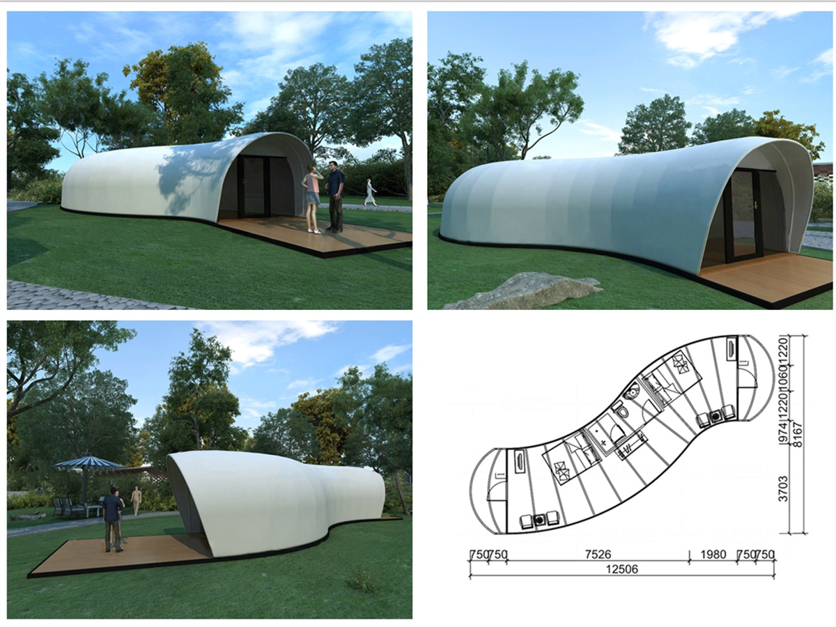 Glamping Tent Structures Covering with Double PVDF Fabric Membrane