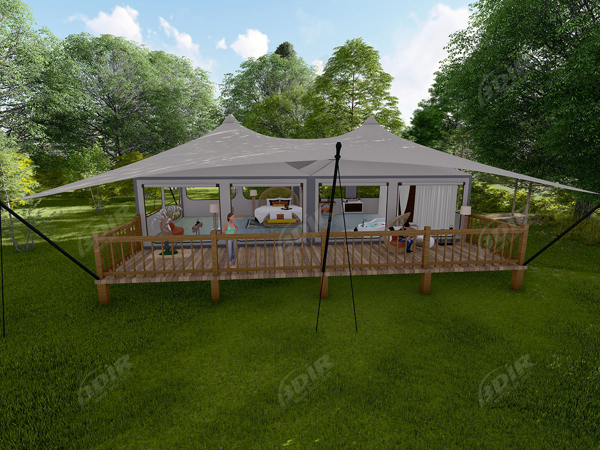 Royal Lodge Glamping Tented Villa'S voor Luxe Resort Familiesuite