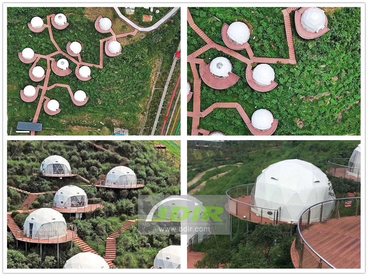 12 Geodesic Dome Tent Houses are Designed & Built - Wugong Mountain Resort