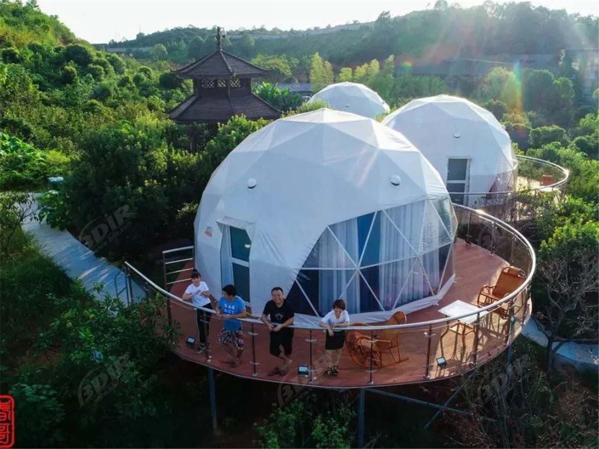 12 White PVC Fabric Eco Dome Tents, Deep Forest Geodesic Dome Resort