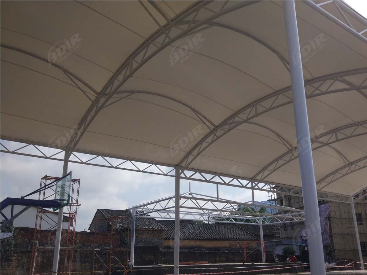 Basketball Court, Stage & Coffee Shop Tensile Shade Structure - Yingde, China
