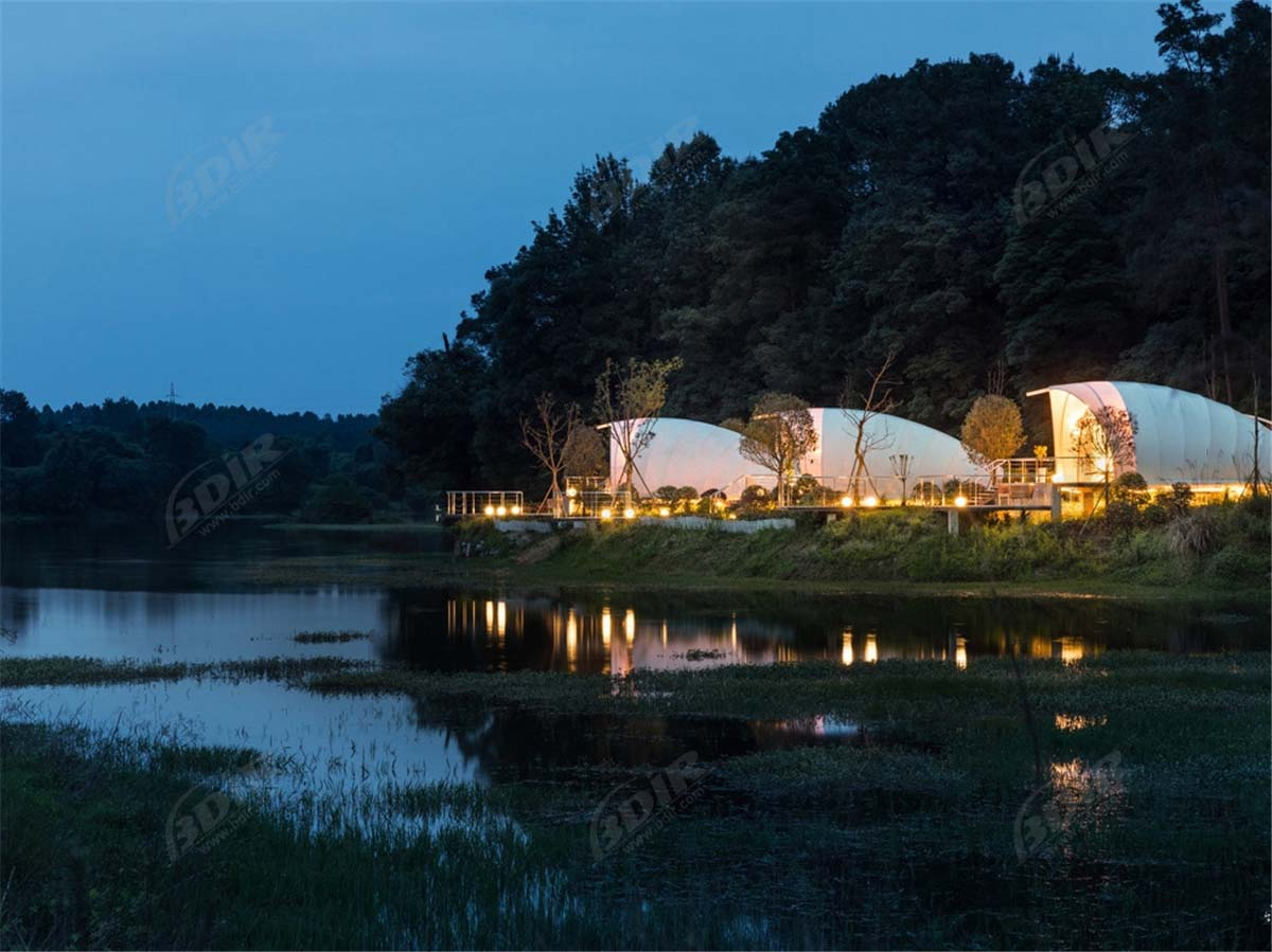Best Permanent Camping Cabins Tent Hotel, Luxury Conch Tented Lodges - Chengdu, China