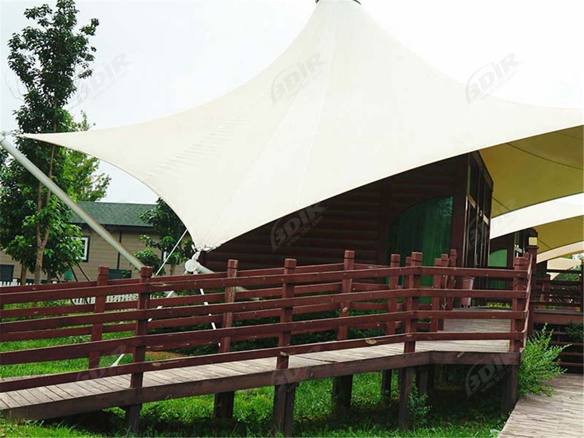 Eco Sustainable Hospitality Camping Resort with Fabric Roof Cottages - Sichuan, China