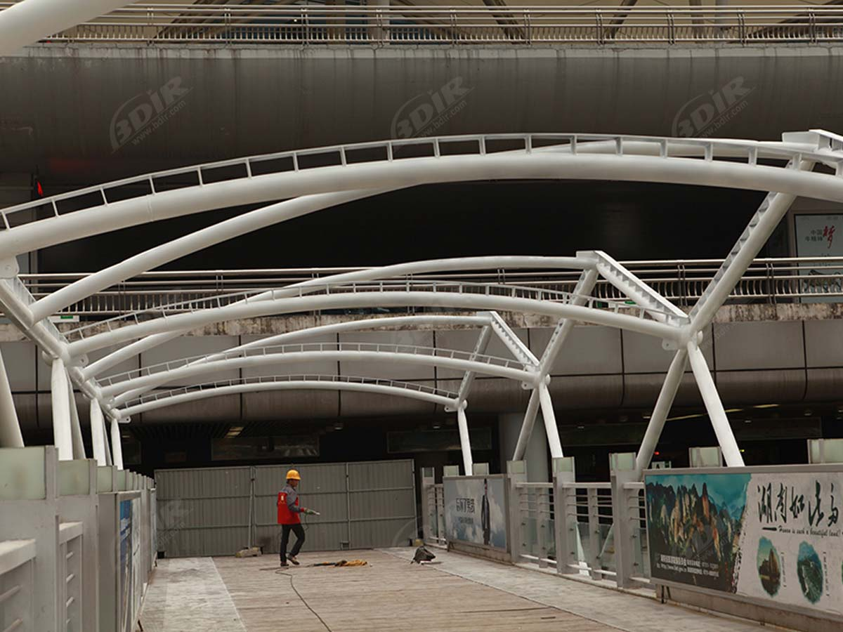 Fabric Tensile Walkway Structure for Huanghua Airport Terminal - Changsha, China