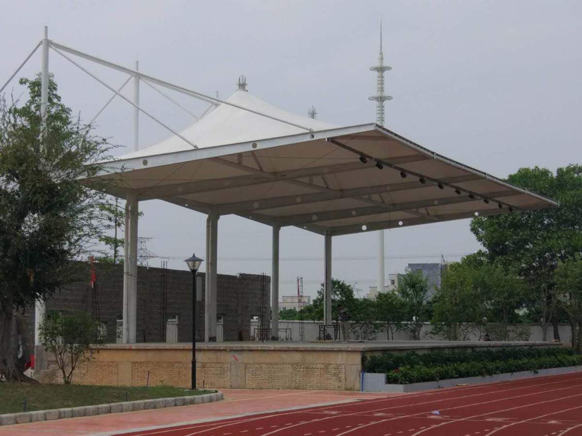 PVDF Fabric Tensile Structure for Guangzhou Art School Grandstand & Stage Roof