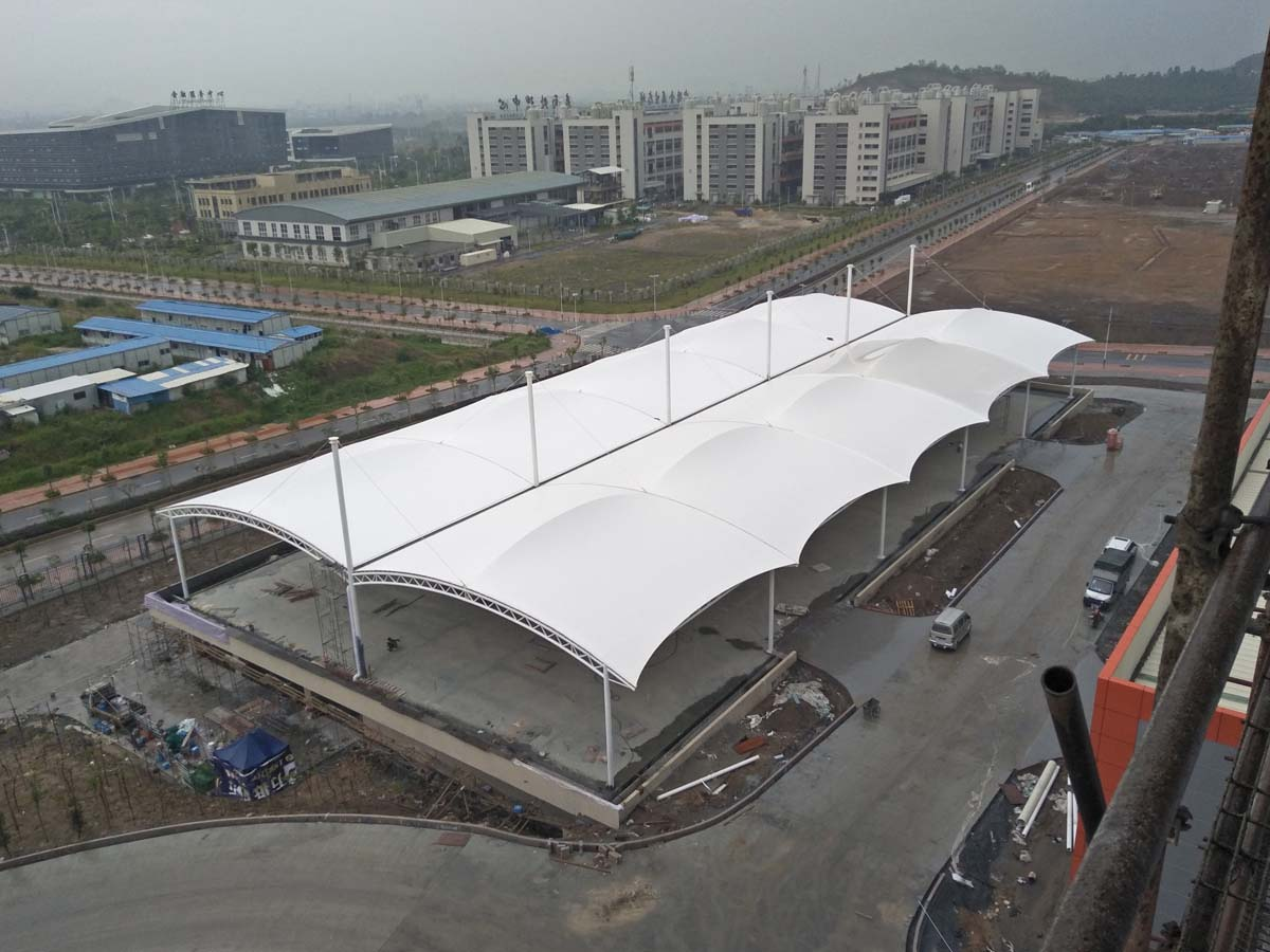 PVDF Fabric Tensile Structure for Car Parking Lots Canopy in Jiangsu Zhongli Group