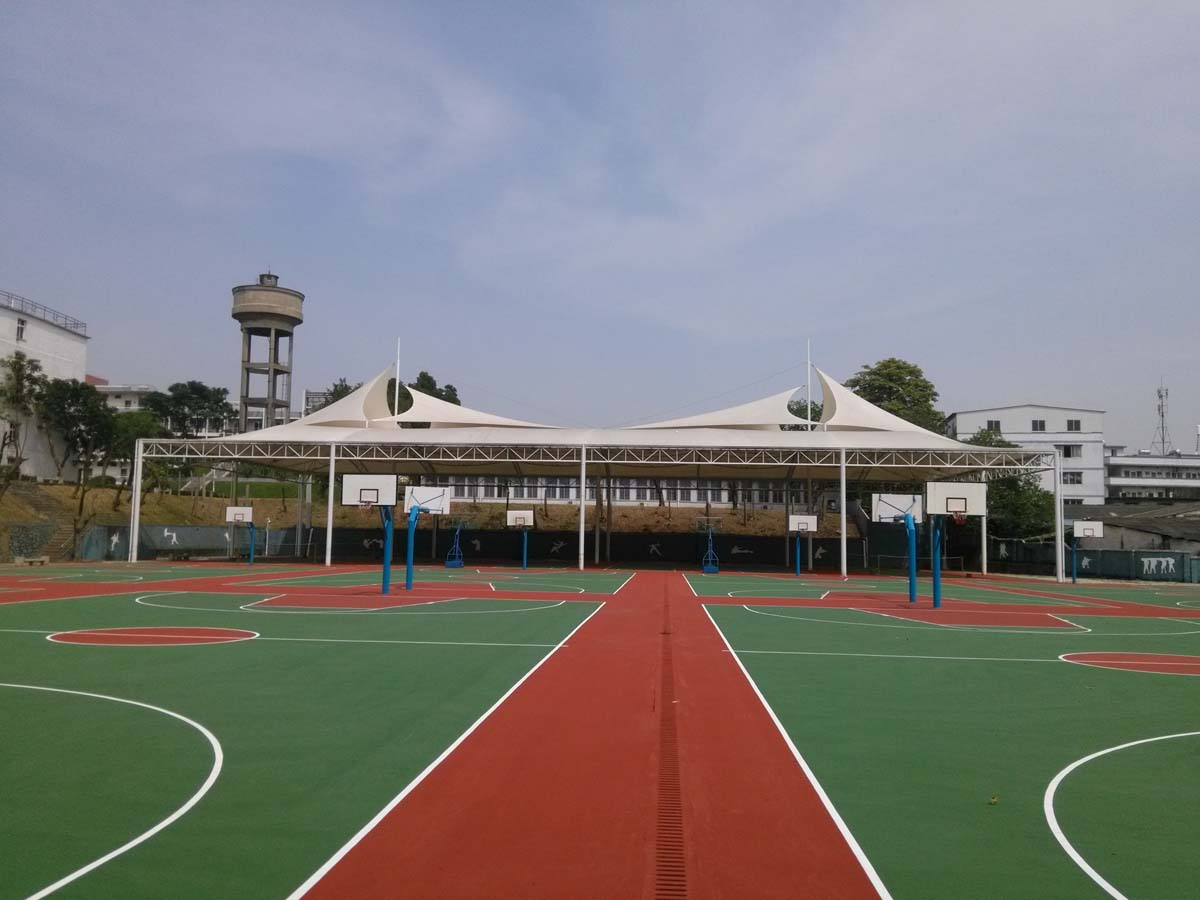 Guangzhou Naval Academy Outdoor Basketball Courts Tensile Shade Structure