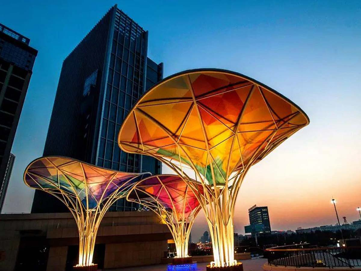 Inverted Umbrella Colorful Fabric Tensile Structure in Commercial Street - Nanjing, China