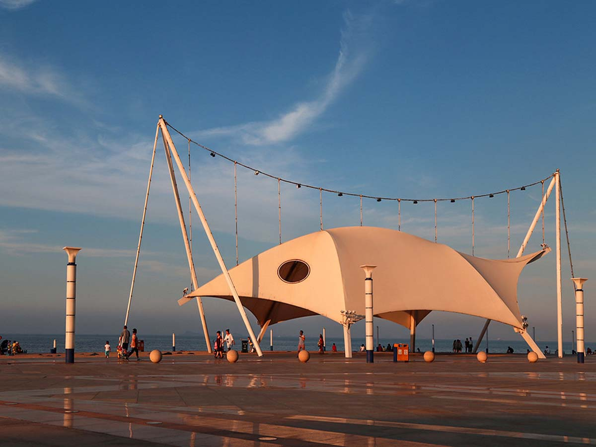 Landscape Tensile Fabric Structure for Marina Square - Yantai, China