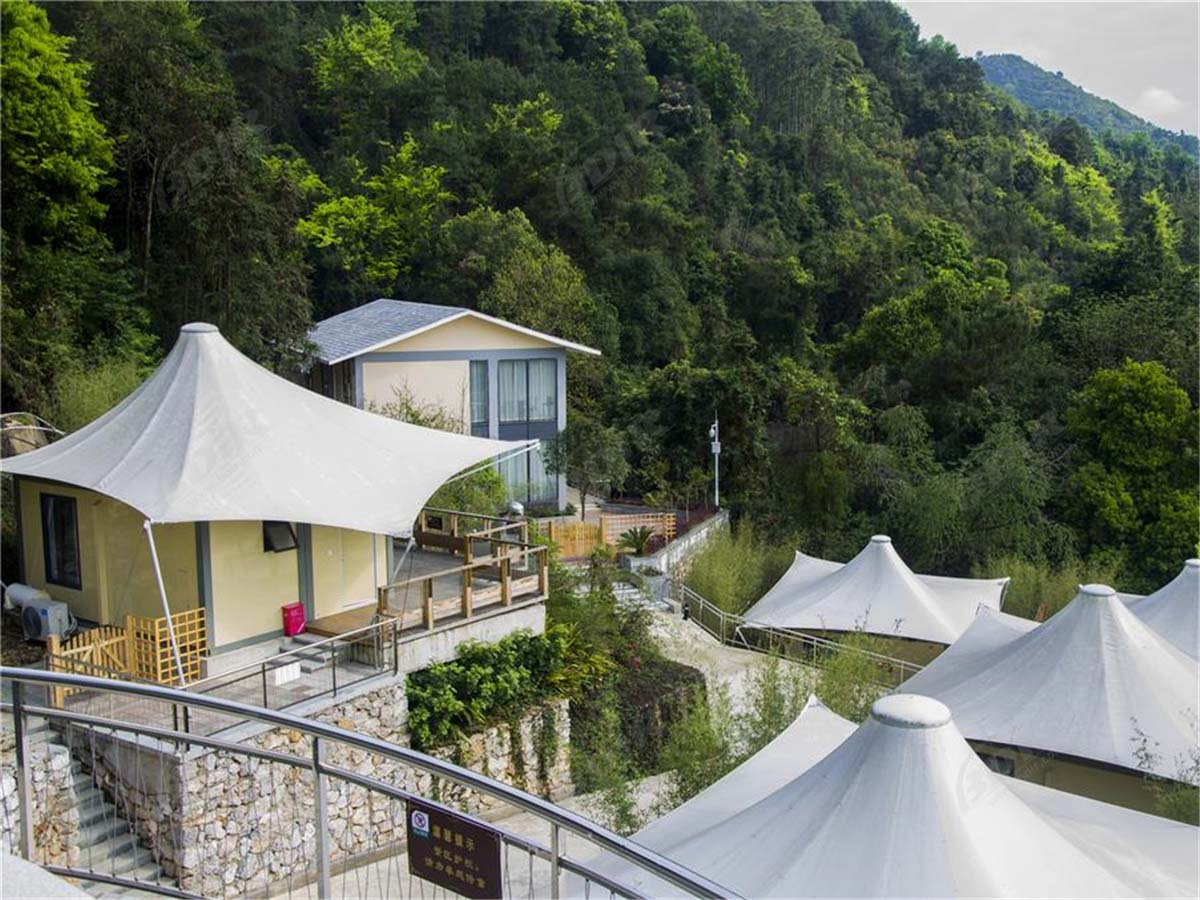 Natural Hot Springs Spa Resort | Container Modular House with Tensile Membrane Roof