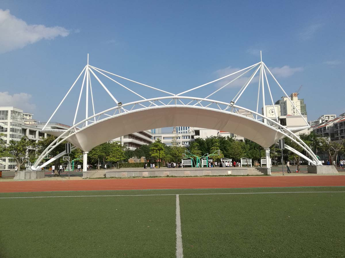 Roof Tensile Structure for Spectator Grandstands & Landscape - Xiamen Foreign Language School