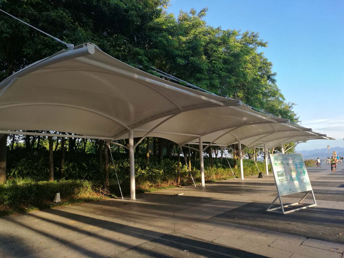 Shenzhen Bay Park Tensile Fabric Structure for Bicycle Parking Shade