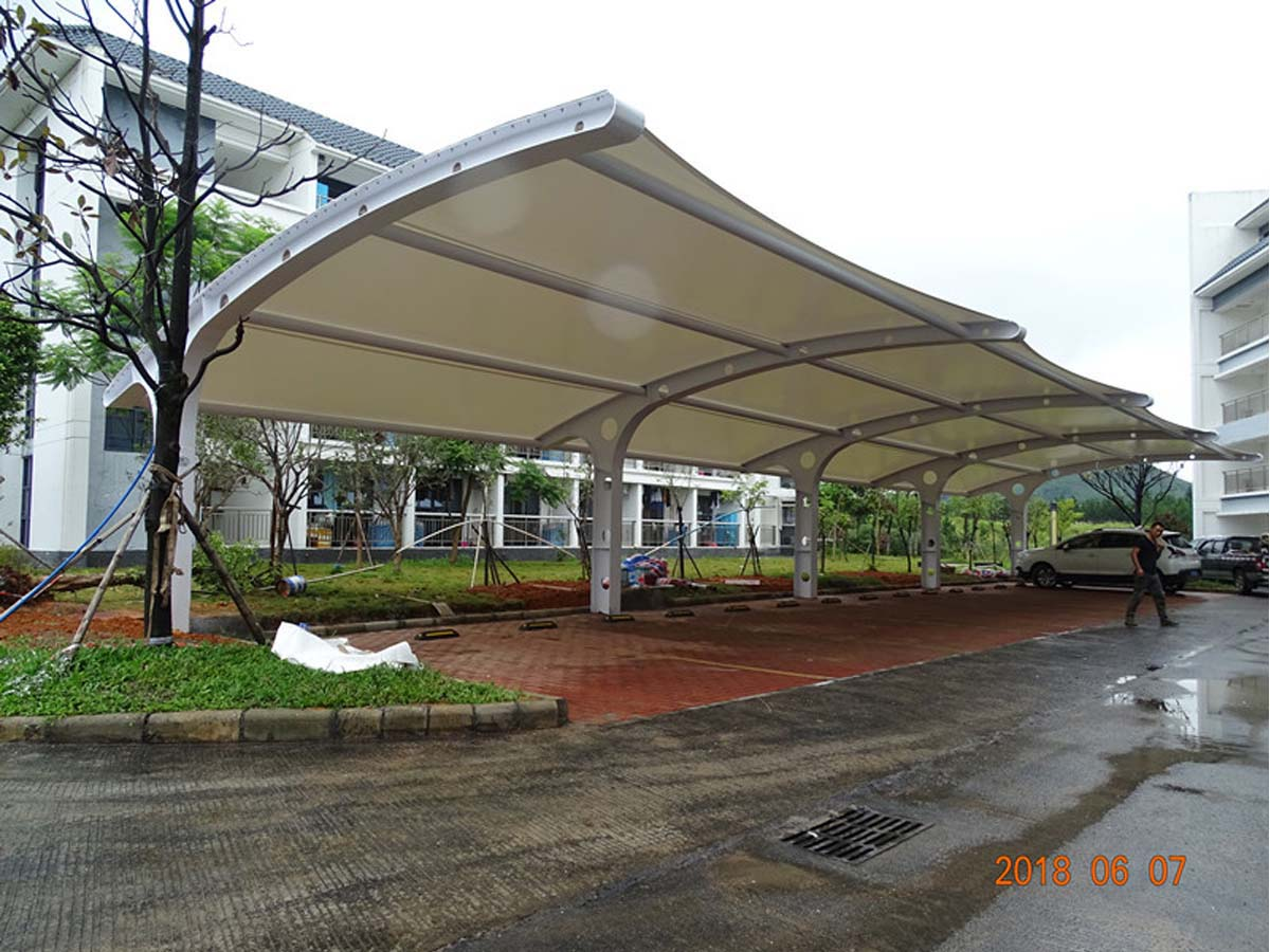 Tensile Fabric Structures for Car Parking Shades - Shaoguan, China