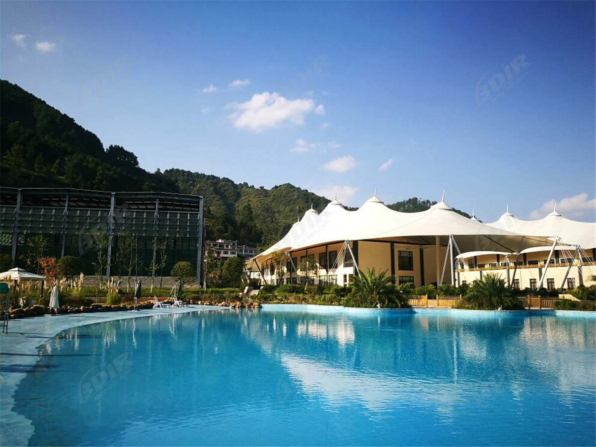 Tensile PVDF Membrane Roof Structures Tent Hotel Resort - Guizhou, China