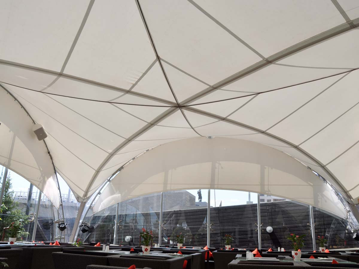 Tensile Fabric Structure for Outdoor Coffee Shop - Astana, Kazakhstan