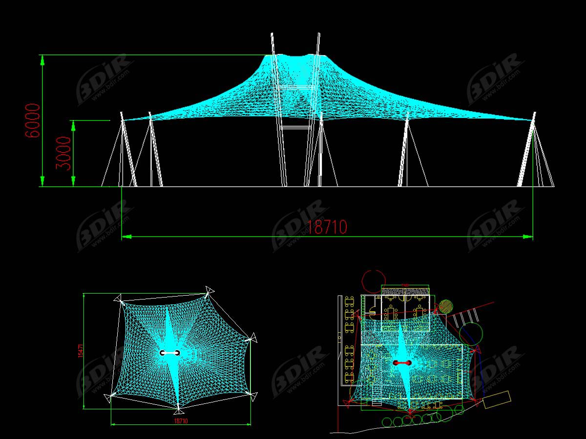 Tensile Roof Structure for Outdoor Restaurant - Conghua, China