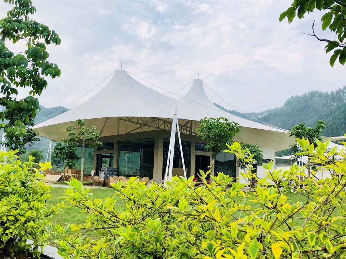 Tension Fabric Membrane Roof Tent Resort for Primitive Forest Tourism - Guangxi, China