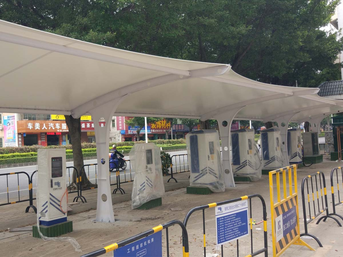 Car Parking Tensile Structure for Aoyuan New Energy Vehicles Charging Station - Huizhou, China