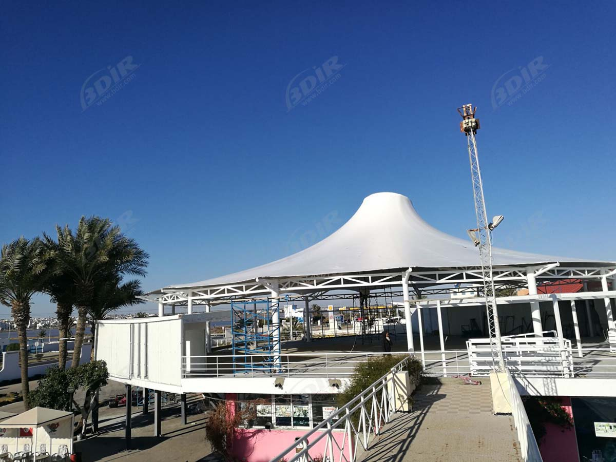 Entrance & Stage of Amusement Park Tensile Fabric Structure - Tunis, Tunisia