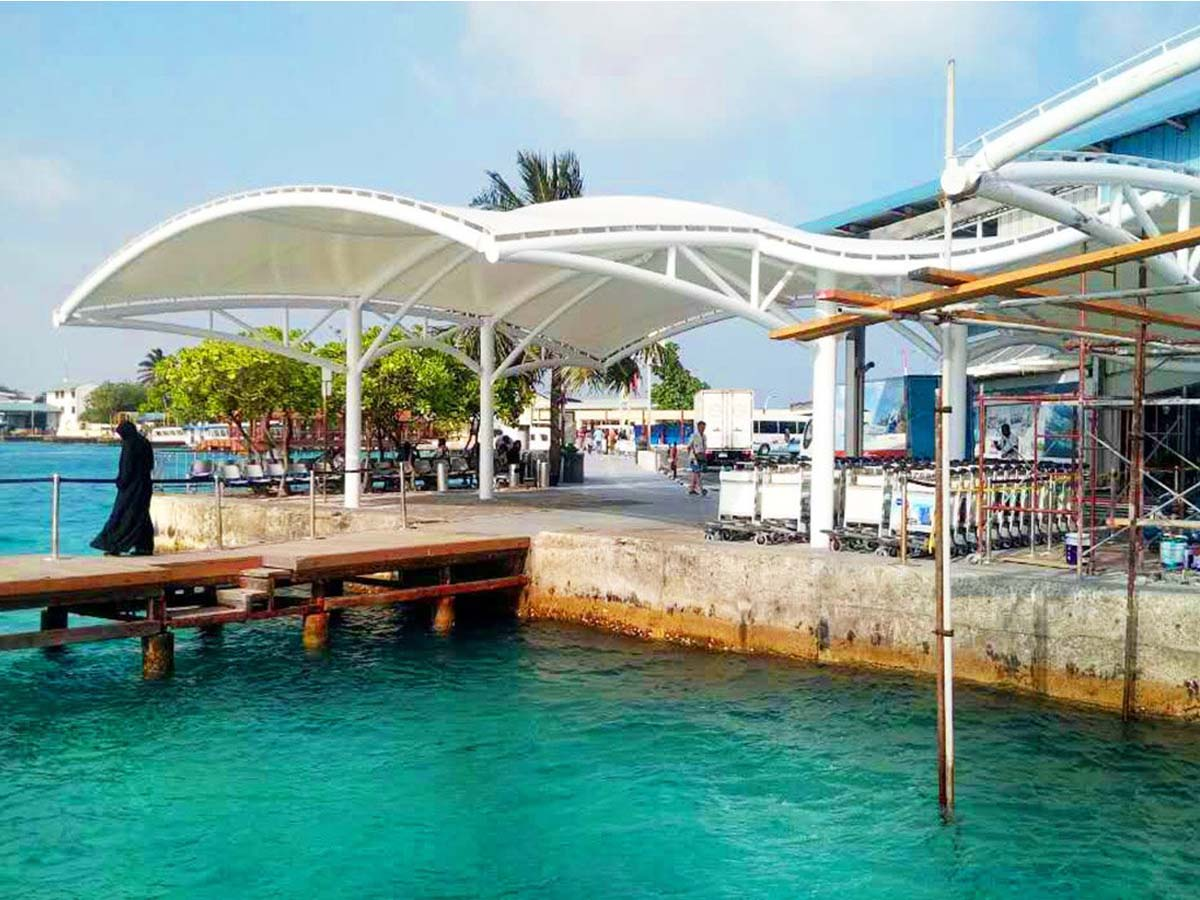 Tensile Fabric Structure for Ferry Terminal, Pier, Waterfront Marina - Maldives