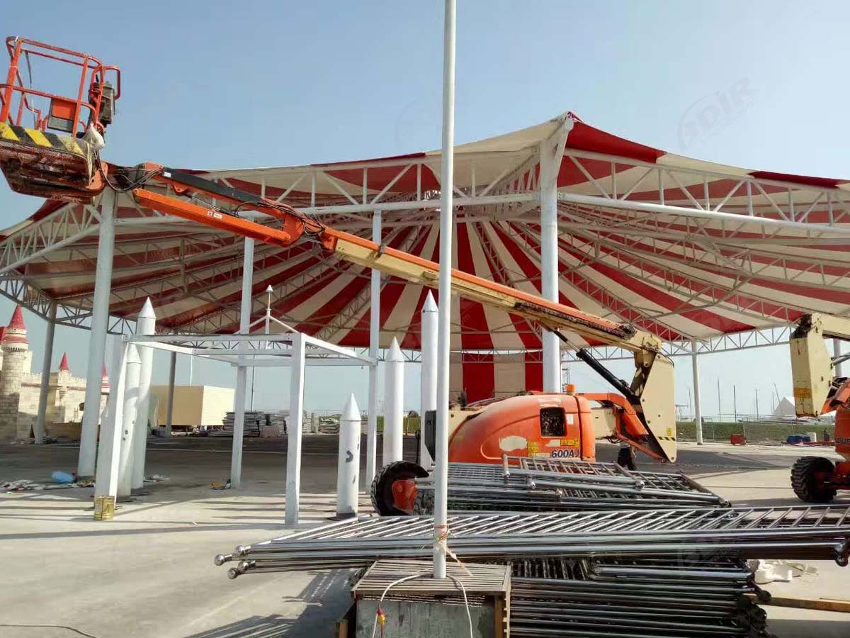 Multitude of Colors Tensile Roof Structure for Commercial Playground - Doha, Qatar