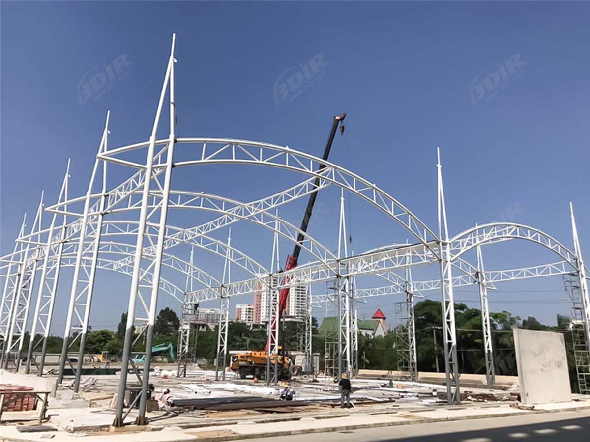 Tensile Shade Structure for PSB Outdoor Tennis Court - Beihai, China