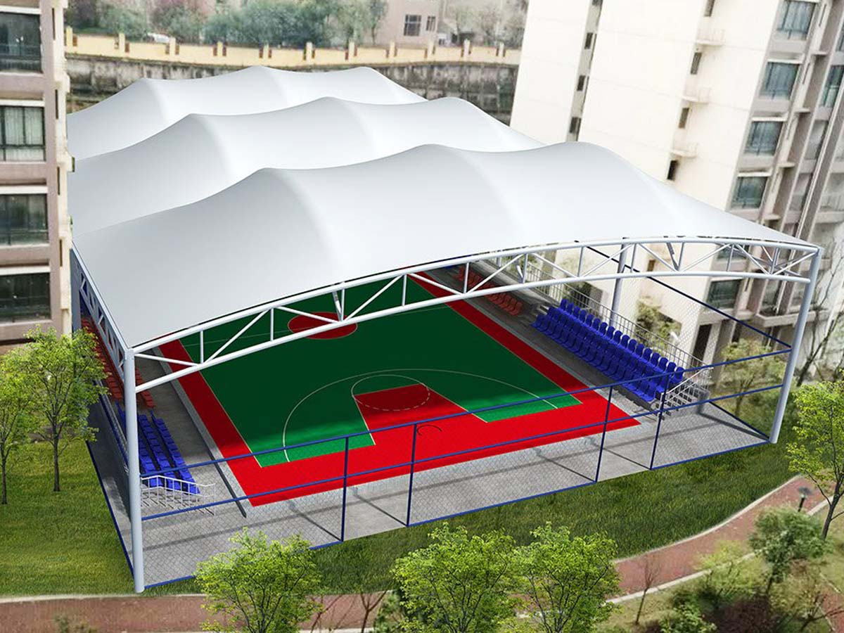 Tensile Structure for Multi-Event Sports, Basketball & Badminton Court - Shanghai, China