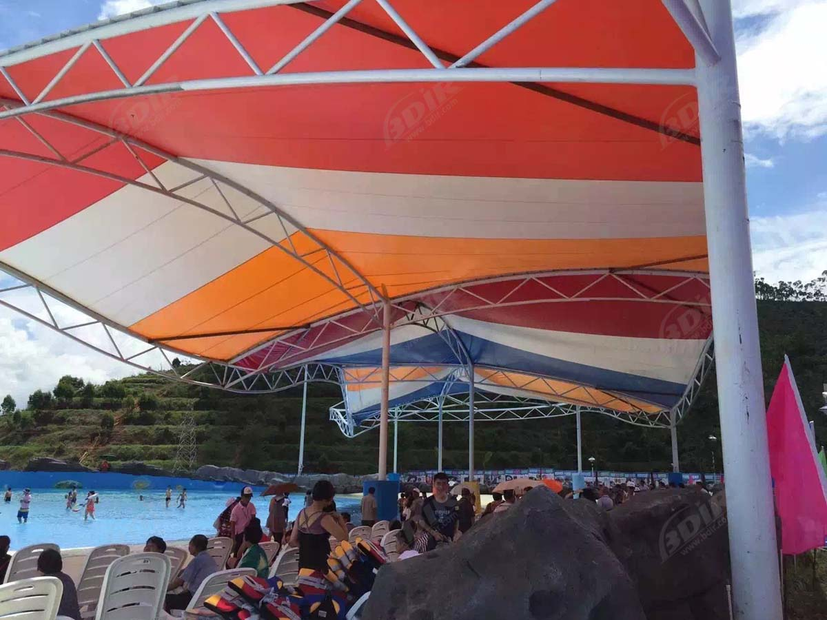 Xihe Bay Water Parks Tensile Roof & Grandstand Shade Structure - Xingning, China